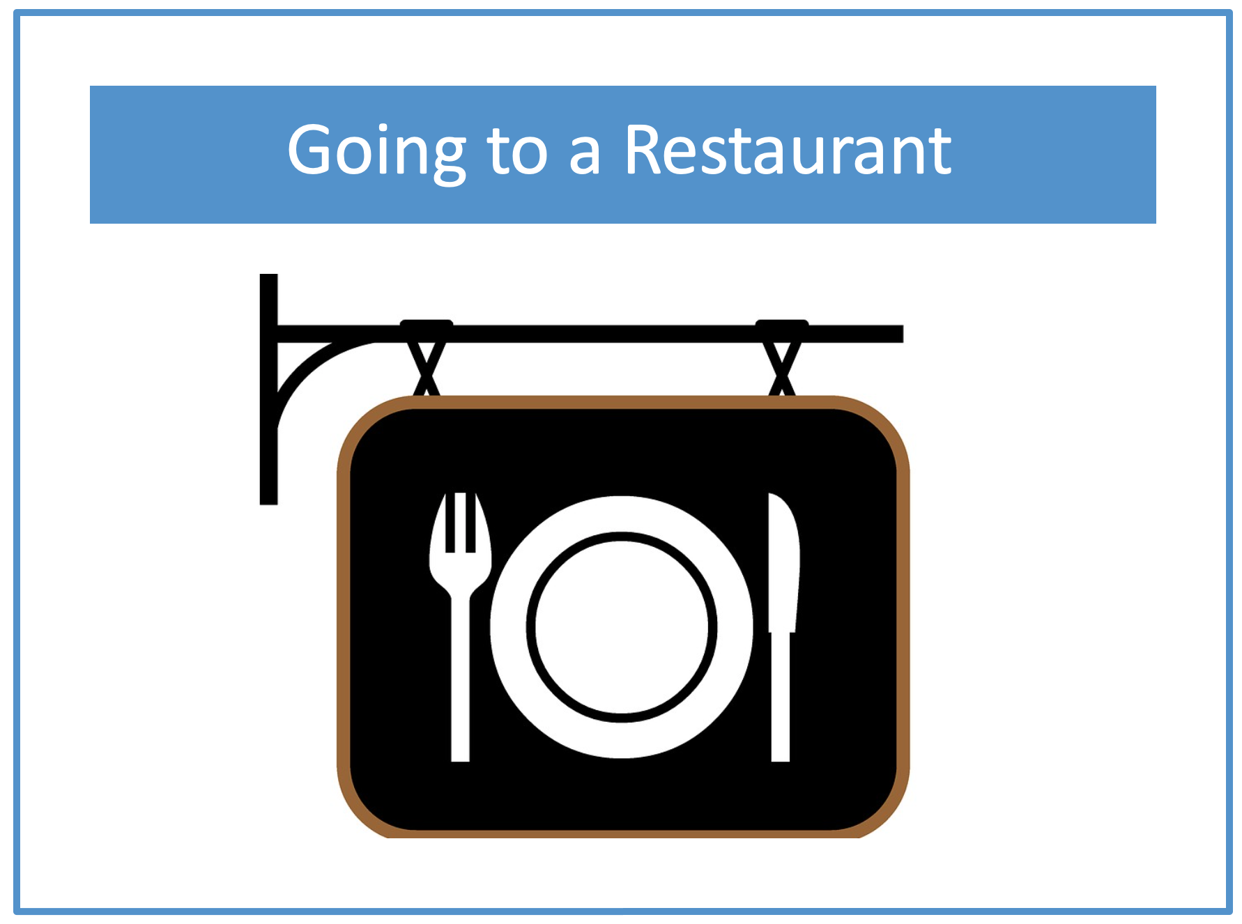 Example of a personalized teaching story for going to a restaurant