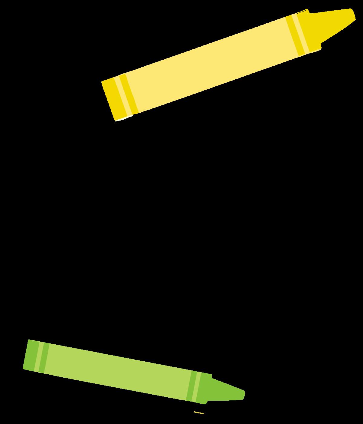 crayons green and yellow